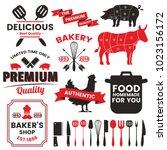 restaurant retro vector logo... | Shutterstock .eps vector #1023156172