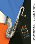 retro style jazz poster design... | Shutterstock .eps vector #1023157048