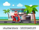 smiling pizza delivery courier... | Shutterstock .eps vector #1023160135