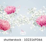 chrysanthemums and apple... | Shutterstock .eps vector #1023169366