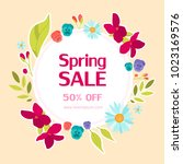 spring sale card with colorful... | Shutterstock .eps vector #1023169576