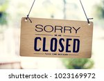 closed sign in a shop | Shutterstock . vector #1023169972