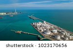 aerial view of tank farm for... | Shutterstock . vector #1023170656