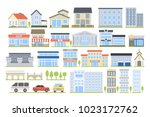 city buildings set. hospital... | Shutterstock .eps vector #1023172762