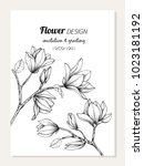 magnolia flower frame drawing ... | Shutterstock .eps vector #1023181192
