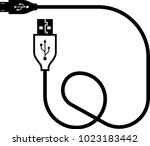 micro usb cable  usb cable... | Shutterstock .eps vector #1023183442