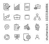 premium set of management line... | Shutterstock .eps vector #1023186886