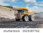 big dump truck or mining truck... | Shutterstock . vector #1023187762