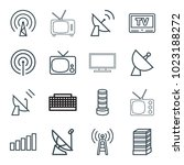 antenna icons. set of 16... | Shutterstock .eps vector #1023188272