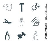 tools icons. set of 9 editable... | Shutterstock .eps vector #1023188362