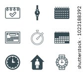 time icons. set of 9 editable... | Shutterstock .eps vector #1023188392