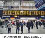 blurred of crowded passengers...   Shutterstock . vector #1023188872