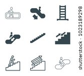stairway icons. set of 9... | Shutterstock .eps vector #1023189298