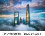aerial shanghai lujiazui night... | Shutterstock . vector #1023191386
