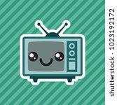 cute kawaii smiling retro... | Shutterstock .eps vector #1023192172