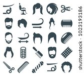 haircut icons. set of 25... | Shutterstock .eps vector #1023193186