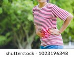 women with menstrual pain   or... | Shutterstock . vector #1023196348