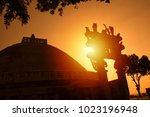 sunrise at the great sanchi... | Shutterstock . vector #1023196948