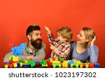 parenthood and game concept.... | Shutterstock . vector #1023197302