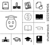 knowledge icons. set of 13... | Shutterstock .eps vector #1023198406