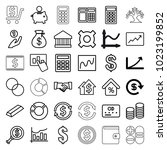 finance icons. set of 36... | Shutterstock .eps vector #1023199852