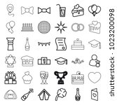 celebration icons. set of 36... | Shutterstock .eps vector #1023200098