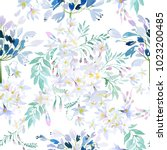 watercolor spring flowers... | Shutterstock . vector #1023200485