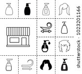 shampoo icons. set of 13... | Shutterstock .eps vector #1023201166