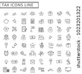 tax icons line set vector... | Shutterstock .eps vector #1023201322