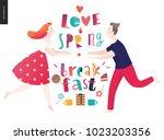 love  spring  breakfast... | Shutterstock .eps vector #1023203356