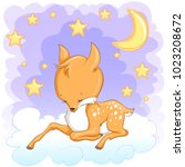 cute sleepy baby deer in the... | Shutterstock .eps vector #1023208672