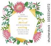 wedding invitation with protea... | Shutterstock .eps vector #1023214372