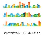 cityscape colorful decorations. ... | Shutterstock .eps vector #1023215155