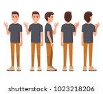 vector illustration of smiling... | Shutterstock .eps vector #1023218206