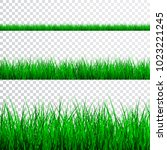 green grass border set  vector... | Shutterstock .eps vector #1023221245