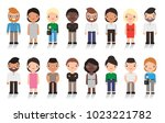 large group of cute cartoon... | Shutterstock .eps vector #1023221782