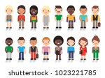 large group of cute cartoon... | Shutterstock .eps vector #1023221785