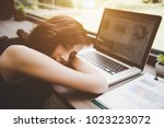 business woman tired from... | Shutterstock . vector #1023223072