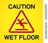 caution wet floor | Shutterstock .eps vector #102323392