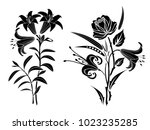 lily and rose tattoo. black... | Shutterstock .eps vector #1023235285