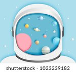 astronaut with universe... | Shutterstock .eps vector #1023239182