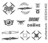 vector set of drone labels ... | Shutterstock .eps vector #1023241402