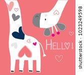 cute giraffe with hearts vector ...   Shutterstock .eps vector #1023249598