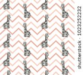 seamless pattern with cute baby ... | Shutterstock .eps vector #1023252232