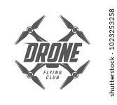 drone logo. flying club label | Shutterstock .eps vector #1023253258