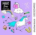 unicorn magic design element... | Shutterstock .eps vector #1023254902