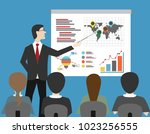 man give presentation with... | Shutterstock .eps vector #1023256555