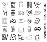 pill icons. set of 25 editable... | Shutterstock .eps vector #1023256882