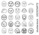 facial icons. set of 25... | Shutterstock .eps vector #1023256972