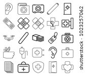 aid icons. set of 25 editable... | Shutterstock .eps vector #1023257062